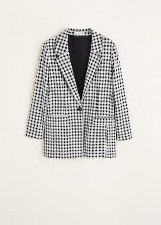 Blazer com padrão Vichy, Mango, 39,99€