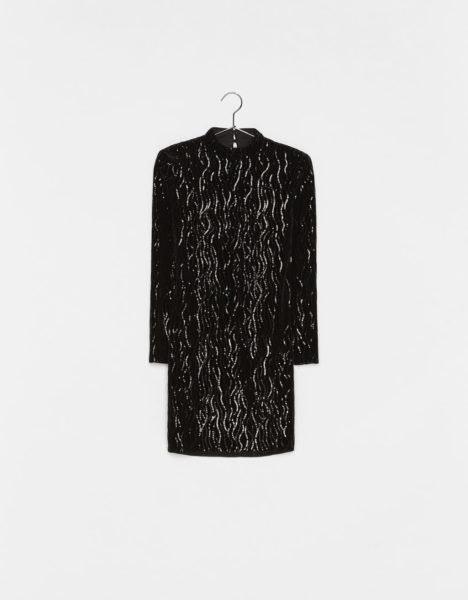 Vestido com lantejoulas preto, Bershka, 39,99€