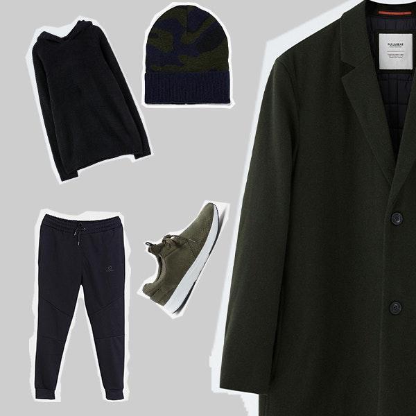 2 | Os materiais confortáveis das calças e da sweatshirt são ideais para um domingo (daqueles bem preguiçosos!). O verde seco escuro e o camuflado dão um twist ao conjunto e o sobretudo é o toque elegante que lhe faltava.