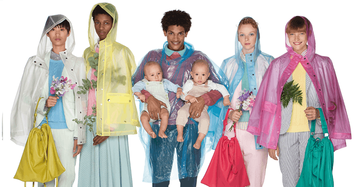 Benetton impermeáveis de plástico