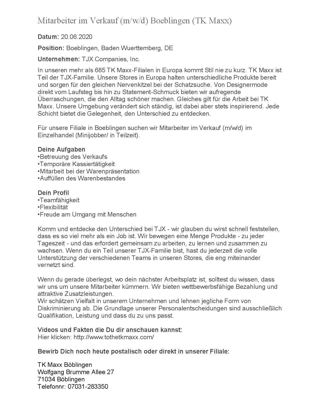 20200608 Mitarbeiter im Verkauf TK Maxx Boeblingen