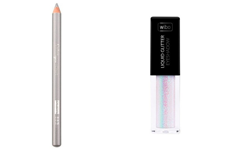 Lápiz metalizado de PUPA MILANO y Liquid glitter de Wibo - Ambos disponibles en Primor