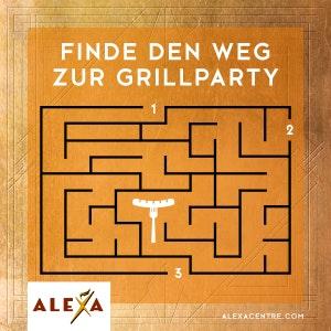 Finde den Weg zur Grillparty beim ALEXA Gewinnspiel.